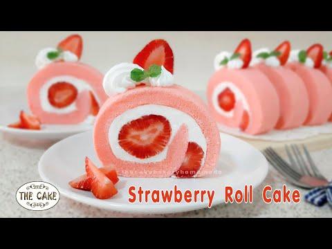 Strawberry Roll Cake Recipe – Swiss Roll : สูตรเค้กโรลสตอเบอรี่